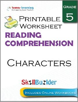 Characters Printable Worksheet, Grade 5