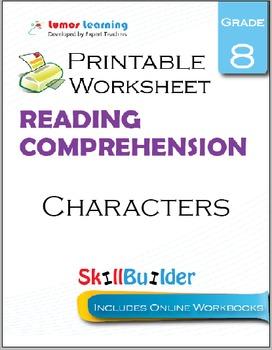 Characters Printable Worksheet, Grade 8