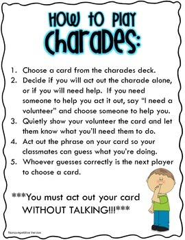 Charades Cards and Directions
