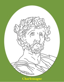 Charlemagne Clip Art, Coloring Page, or Mini-Poster
