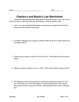 Charles/Boyle's Law Worksheet