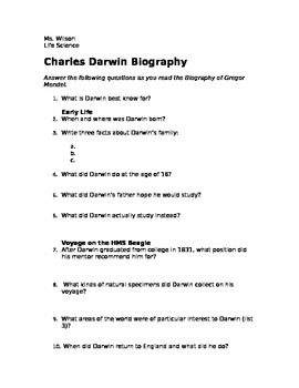 Charles Darwin Biography Analysis questions and Summary- N