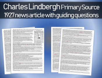 Charles Lindbergh - 1927 news article with guiding questions