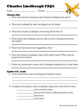 Charles Lindbergh FAQS: Interent Research