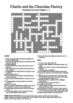 Charlie and the Chocolate Factory - Vocabulary Crossword C