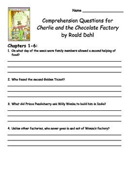Charlie and the Chocolate Factory by Roald Dahl Comprehens