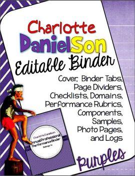 CHARLOTTE DANIELSON EDITABLE BINDER ORGANIZER: PURPLE THEME