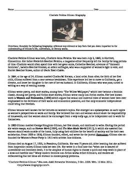 Charlotte Perkins Gilman: Biography Annotate