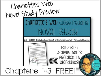 Charlotte's Web Chapter by Chapter Novel Study- Chapters 1-3 FREE