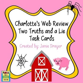 Charlotte's Web Novel Study Review Task Card Activity
