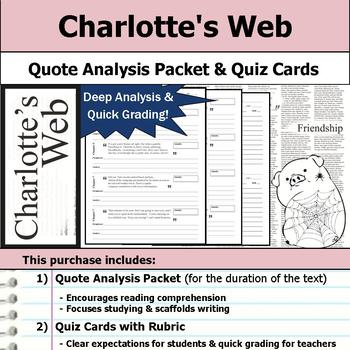 Charlotte's Web - Quote Analysis & Reading Quizzes