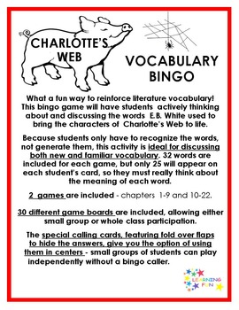 Charlotte's Web Vocabulary Bingo