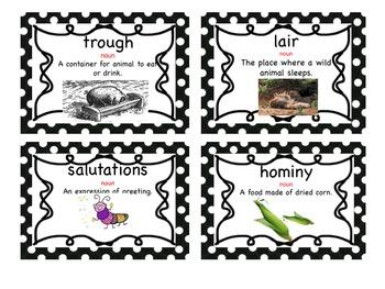 Charlotte's Web Vocabulary Cards ENGLISH