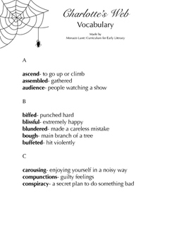 Charlotte's Web Vocabulary Dictionary