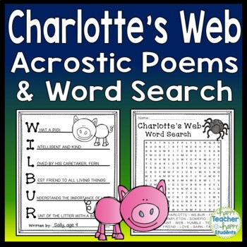 Charlotte's Web Writing Activity: 4 Acrostic Poem Template