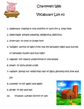 Charlotte's Web by E. B. White Vocabulary lists and quizzes