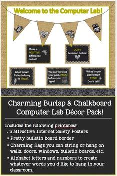 Charming Burlap & Chalkboard Computer Lab Decor Pack