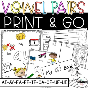 Charming Vowel Pairs Print and Go Activities- ai, ay, ea,