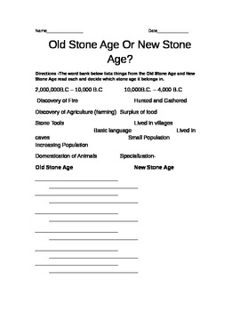 Chart comparing the differences between the Old Stone Age