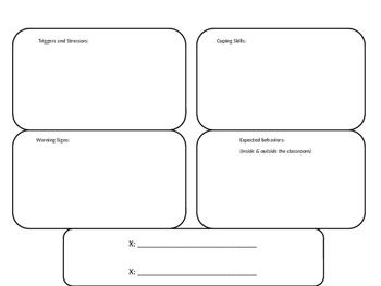Chart for social emotional / behavioral students
