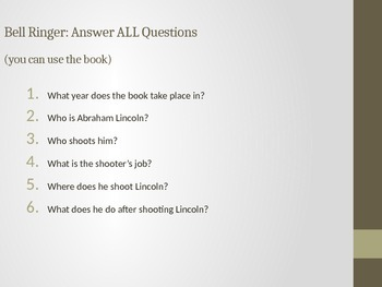 Chasing Lincoln's Killer - Chapters 1-2 Comprehension Questions