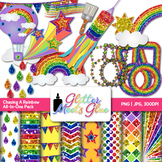 Chasing Rainbows Clip Art - Scrapbook Papers, Frames, Bord