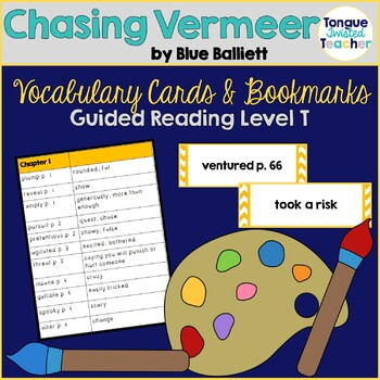 Chasing Vermeer by Blue Balliett Vocabulary Cards and Voca