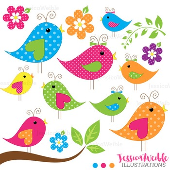 Chatter Birds Cute Digital Clipart, Bird Graphics