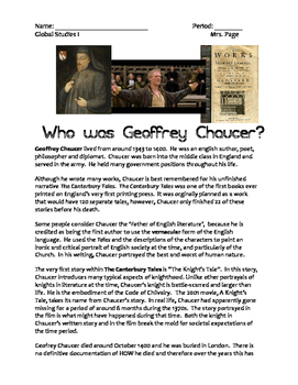 """Chaucer """"A Knight's Tale"""" Worksheet"""