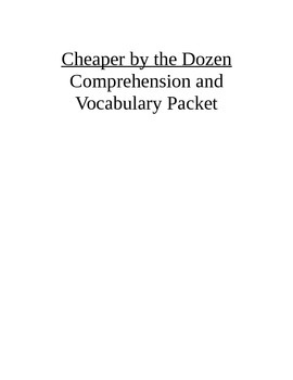 Cheaper by the Dozen Comprehension and Vocabulary Packet