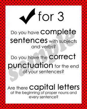 Check for 3 Posters - Red with Black Polka Dots