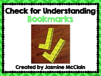 Check for Understanding Bookmarks