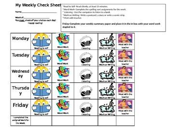 Check in sheet for Reading Activities