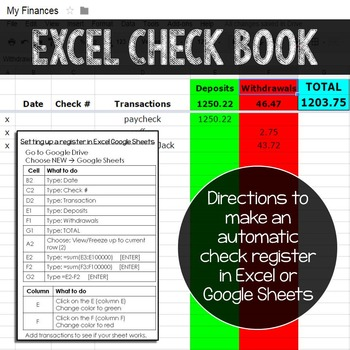 Checkbook in Excel
