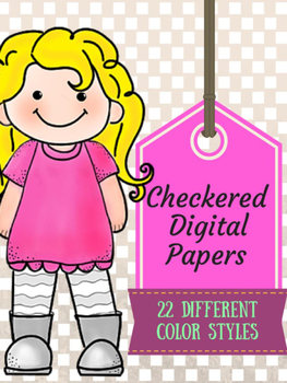 Checkered Digital Papers!  22 different color styles!
