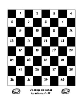 Checkers (un juego de damas) with Spanish numbers