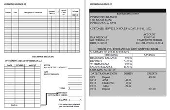 Checking Account Balancing Packet 2