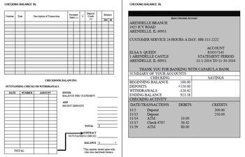 Checking Account Balancing Packet 3-B