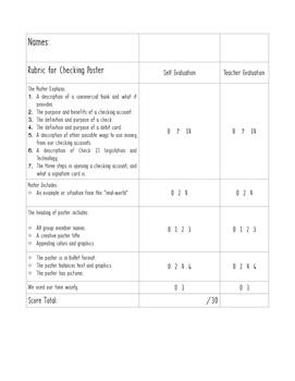Checking Vs. Savings Poster Rubric (Financial Literacy)