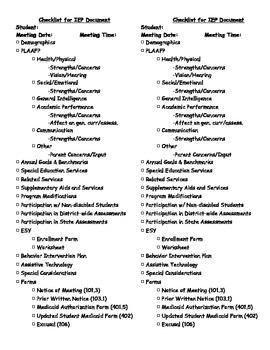 Checklist for IEP Development