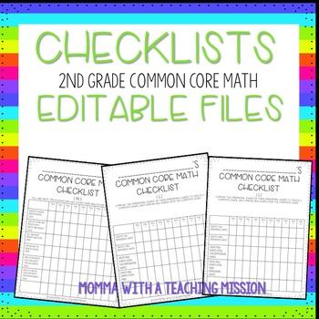 Checklists 2nd Grade Math Common Core EDITABLE
