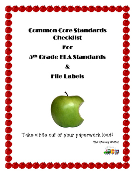 Checklists for 5th Grade ELA Common Core Standards and Fil