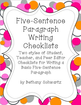 Checklists for Writing a Five Sentence Paragraph