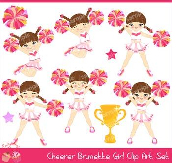 Cheerleaders Cheerer Brown Haired Hair Brunette Girl Pink