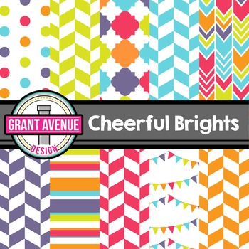 Cheerful Bright Colors Digital Papers