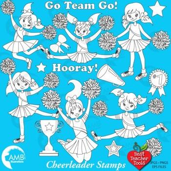 Clipart, Digital Stamps, Cheerleader Clipart, Black Line,