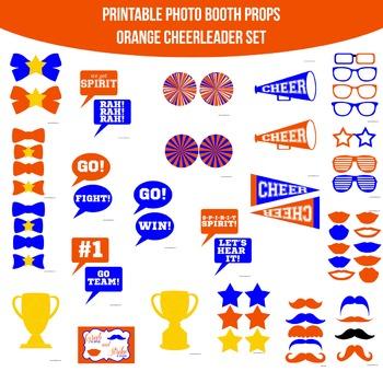 Cheerleader Orange Blue Printable Photo Booth Prop Set