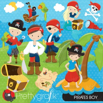 Pirate boy clipart commercial use, vector graphics, digita