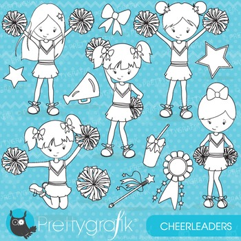 Cheerleader stamps commercial use, vector graphics, images