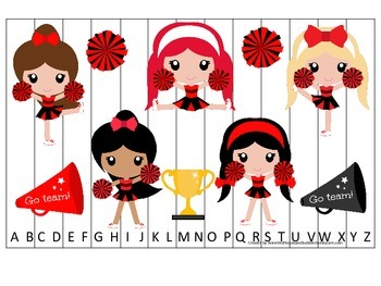 Cheerleaders (Red and Black) themed Alphabet Puzzle presch